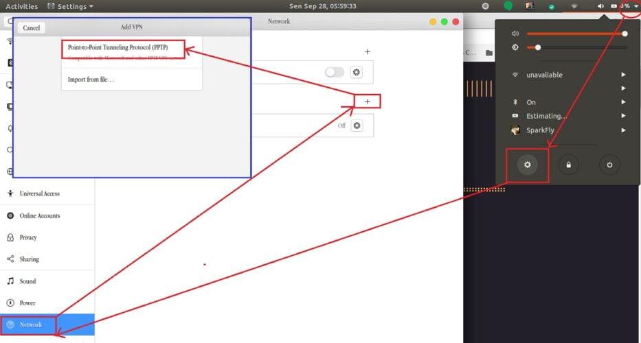 menu setting untuk menambahkan akun PPTP client di ubuntu
