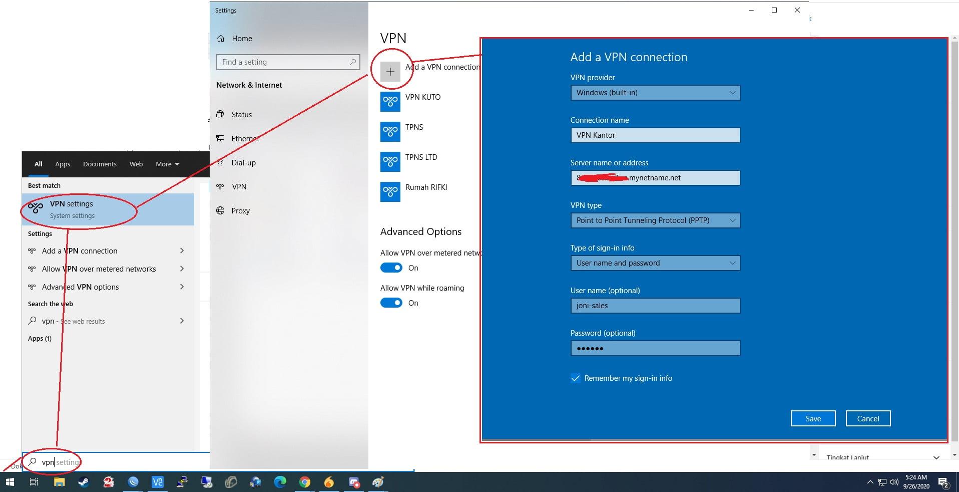 cara menambahkan koneksi VPN client di windows 10