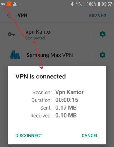 koneksi VPN kantor dengan android berhasil