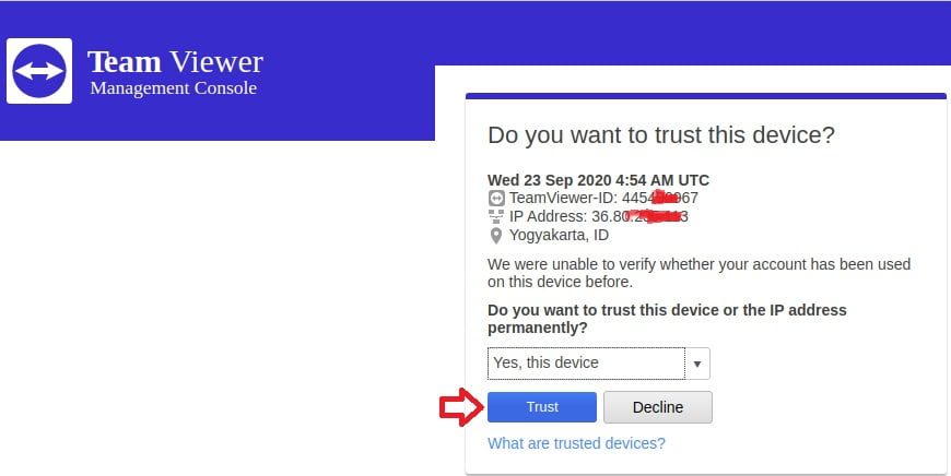 email verifikasi teamviewer admin