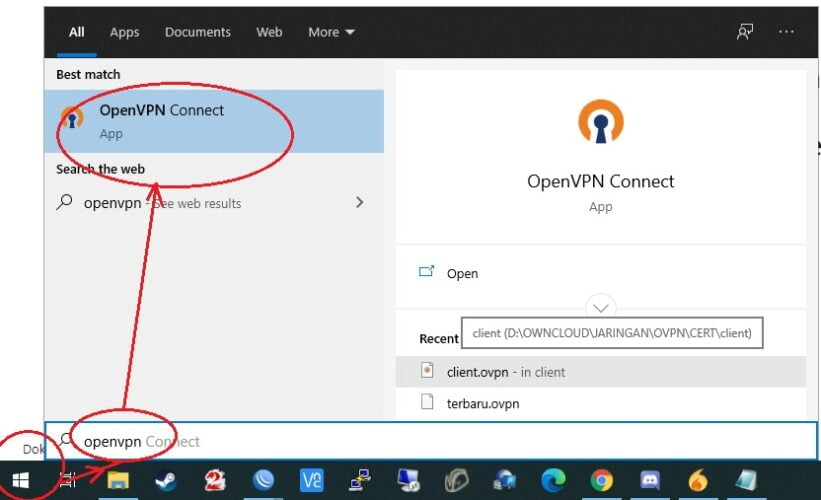 cara menjalankan aplikasi openvpn connect di windows