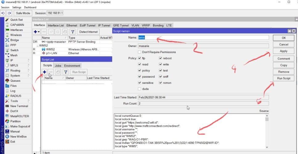 cara memasang script autologin WMS di mikrotik
