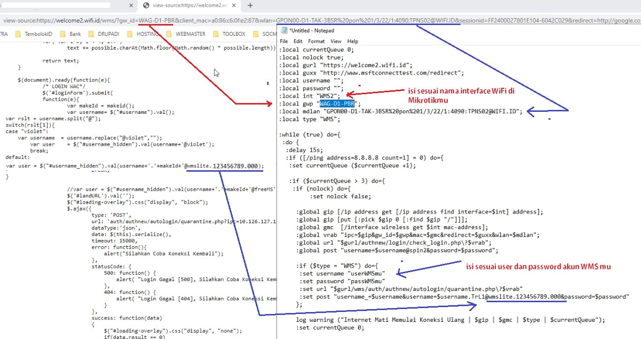 cara edit script autologin WMS agar berhasil dan work 100%